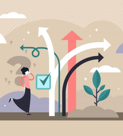 Proofeading, editing, revising: What's the difference. Illustration of confused woman on front of arrows symbolizing the various services