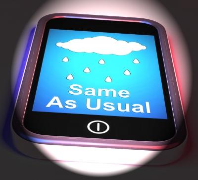 "Screen displaying rain cloud and saying ""Same as usual."" Image source: Stuart Miles, Freedigitalphotos.net"