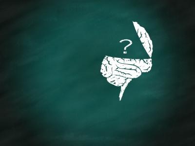 Gehirn als Kreidezeichnung auf Tafel