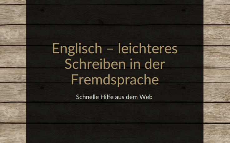 Titelbild E-Broschüre Englisch - leichteres Schreiben in der Fremdsprache