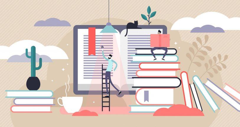 Illustration von 2 Menschen, die vor einem Bildschirm und einem Bücherstapel stehen. Synbolisch für externes Lektorat.