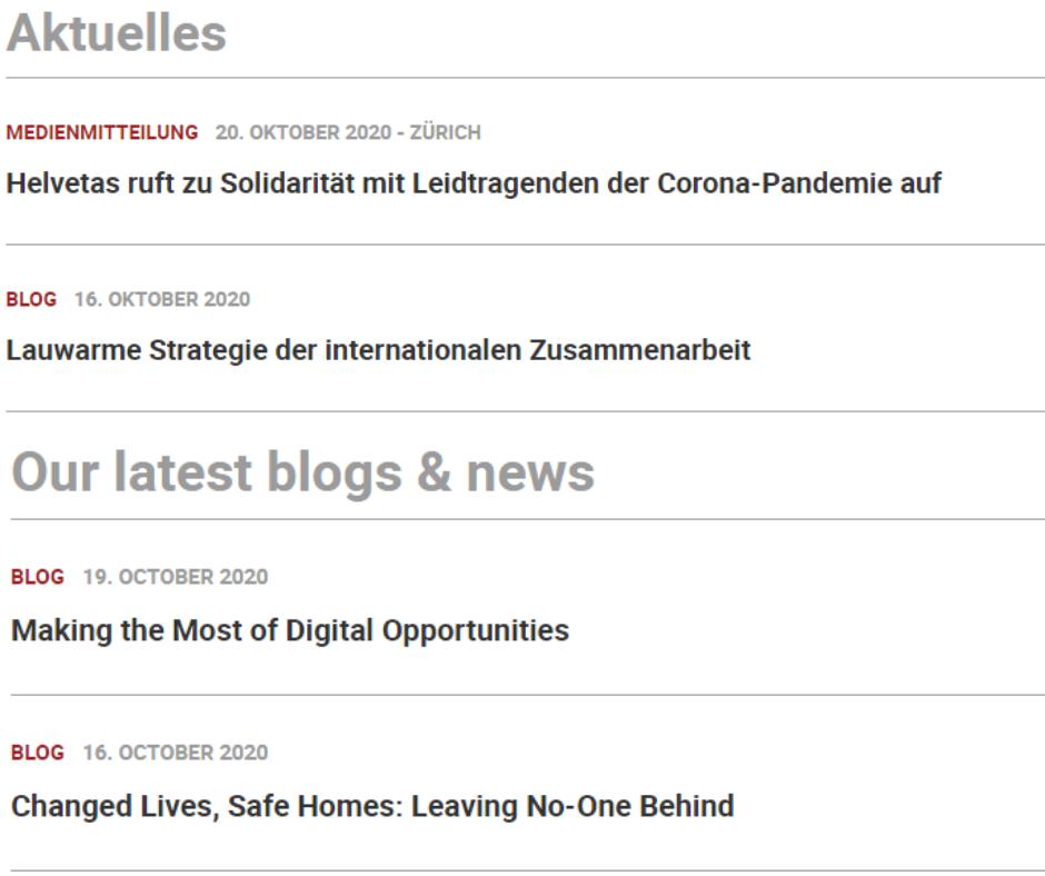 Gegenüberstellung der englischen und deutschen News auf der Helvetas Website.