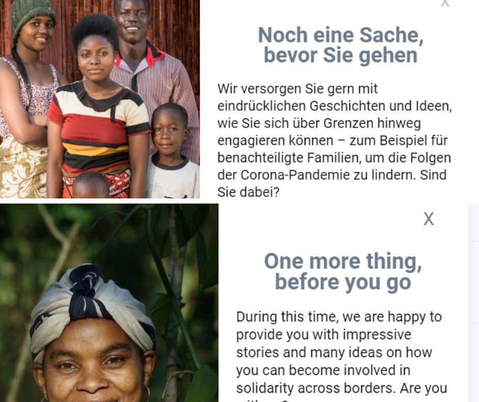 Deutscher und englischer Popup, der erscheint, wenn man die Helvetas Website verlassen möchte.