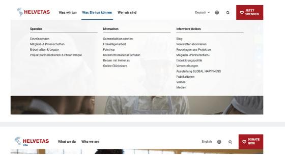 Vergleich der Websitestruktur der deutschen und der englischen Version der Helvetas Website