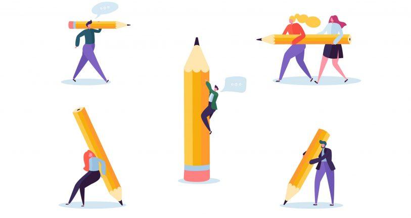 Menschen, die übergroße Stifte herumtragen. Wie entscheidet man, ob eine Transkreation nötig ist, oder ob eine Übersetzung ausreicht?